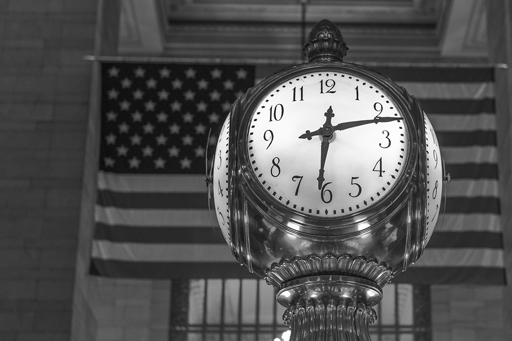 Grand Central Clock American Flag